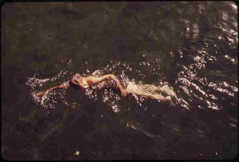Swimming in Havasu Lake between Arizona and California, May 1972.