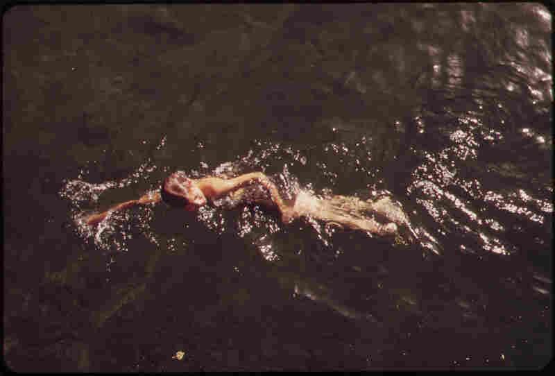 Swimming in Havasu Lake between Arizona and California, May 1972.