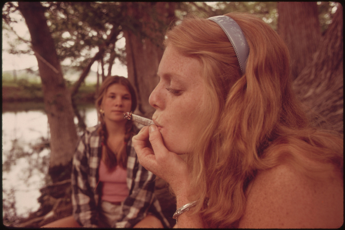 Smoking marijuana near Leakey, Texas.
