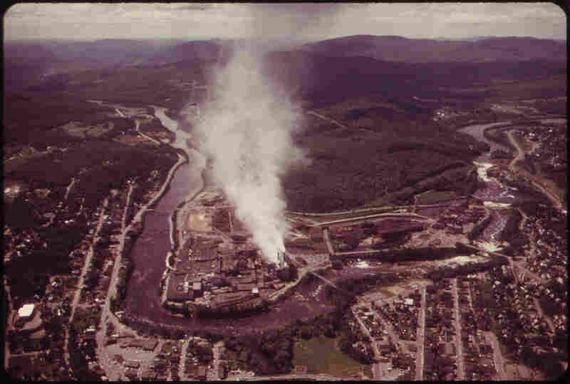 Oxford Paper Co. Mill on the Androscoggin River, Lewiston, Maine, 1973.