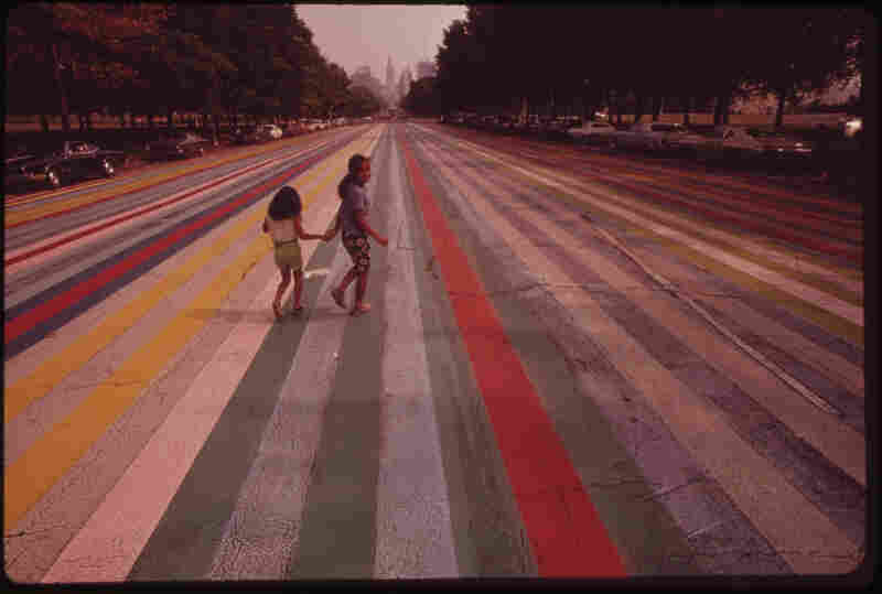 "Crossing ""the painted road,"" which extends east from the Philadelphia Museum of Art, 1973."