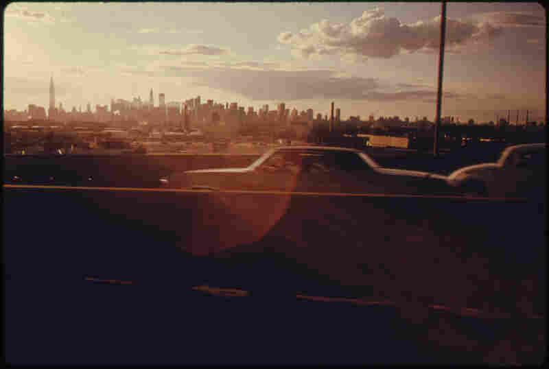 Midtown skyline of New York City, seen from Queens, 1974.