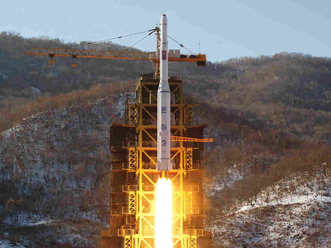 The launch of North Korea's Unha-3 rocket in December in a photo released by the official Korean Central News Agency (KCNA).