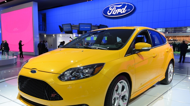 A Ford Focus ST was on display at the 2013 North American International Auto Show in Detroit in January. (AFP/Getty Images)