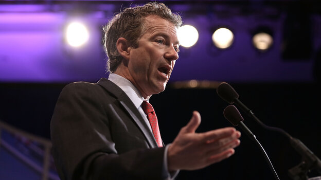 Sen. Rand Paul, R-Ky., shown speaking at a meeting of the U.S. Hispanic Chamber of Commerce on March 19, is promoting libertarian ideas as a way the Republican Party can be more