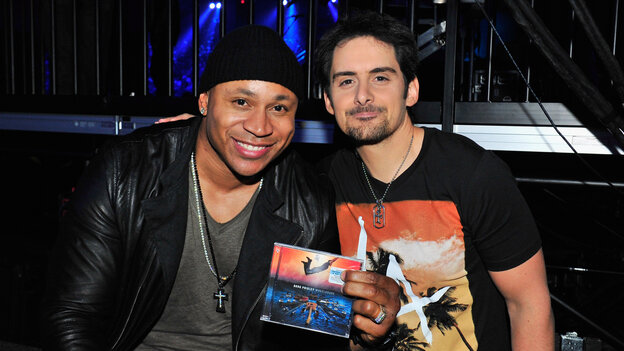 LL Cool J (left) and Brad Paisley backstage during the 48th Annual Academy Of Country Music Awards Sunday in Las Vegas.