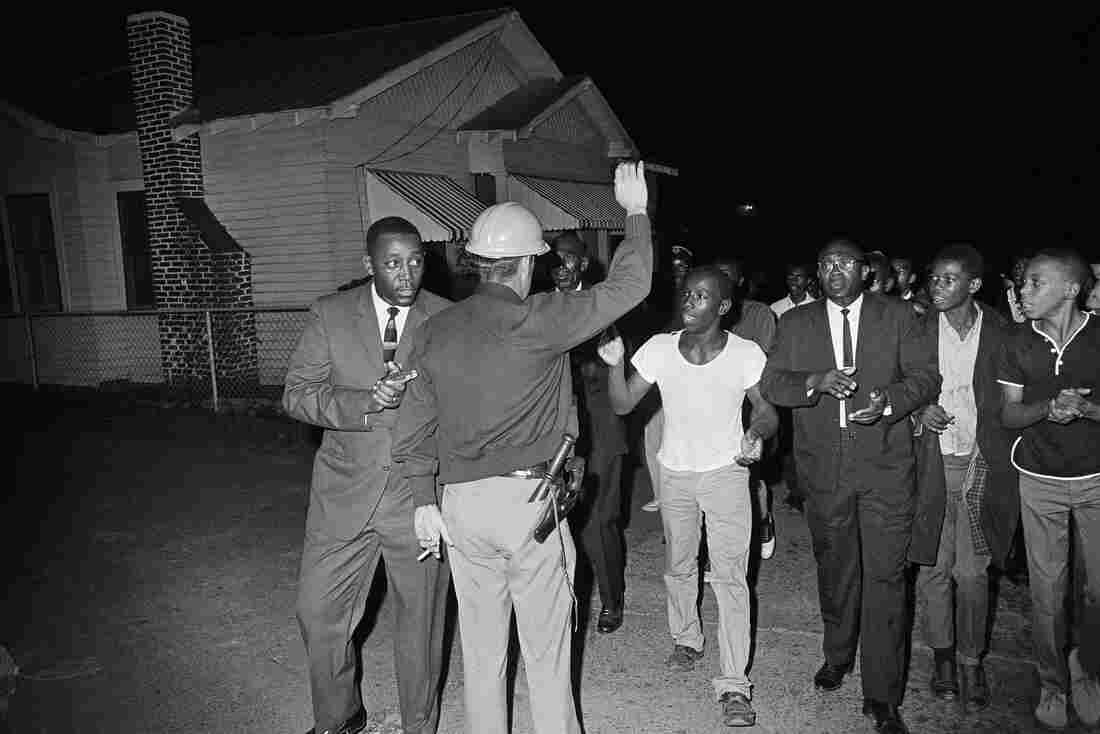 Just three weeks after Queen died, the leader of the NAACP in nearby Natchez, Miss., was seriously injured in a car bomb. Charles Evers led protests, including this one in October 1965.