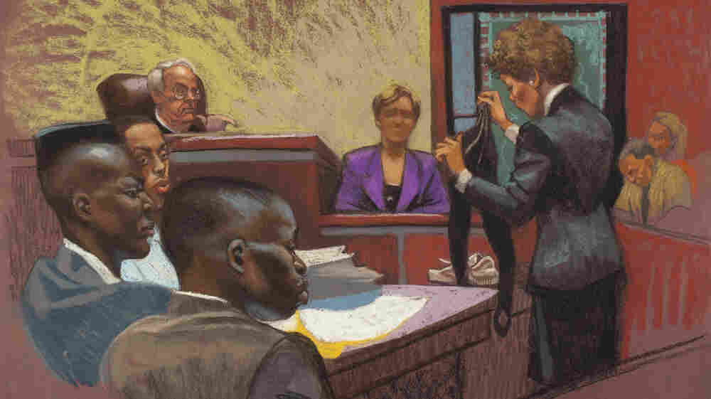 A courtroom sketch from the first trial in the Central Park jogger case shows prosecutor Elizabeth Lederer (standing on right), the victim (on the stand) and defendants Yusef Salaam, Raymond Santana and Antron McCray (on left). The high-profile case is the subject of a Ken Burns documentary, The Central Park Five, airing on PBS this month.