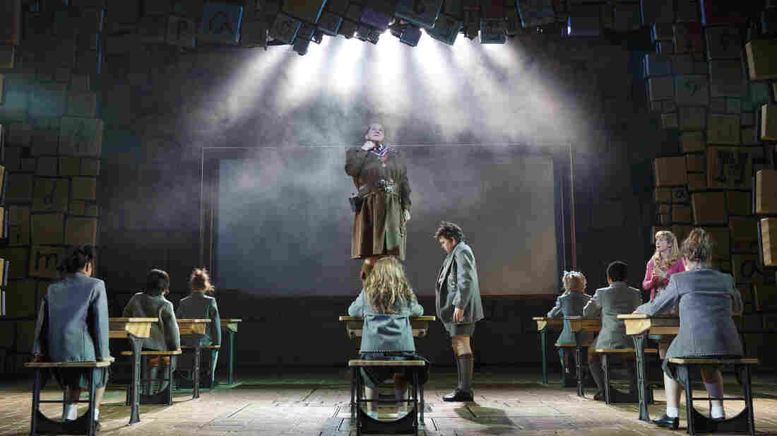 The Broadway cast of Matilda the Musical, including Olivier Award-winning actor Bertie Carvel as the barbaric headmistress Miss Trunchbull.