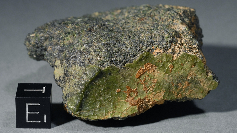 Several fragments of this unusual rock were discovered last year in Morocco. It's been hailed as the first meteorite from the planet Mercury, but where it came from in the solar system isn't certain.