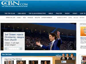 An image taken from a YouTube video depicts a mock news story on the Christian Broadcasting News site, claiming that Pastor Joel Osteen had renounced his faith.