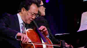 Yo-Yo Ma and pianist Cristina Pato perform during Ma's Nancy Hanks Lecture on Arts and Public Policy at Washington, D.C.'s Kennedy Center.
