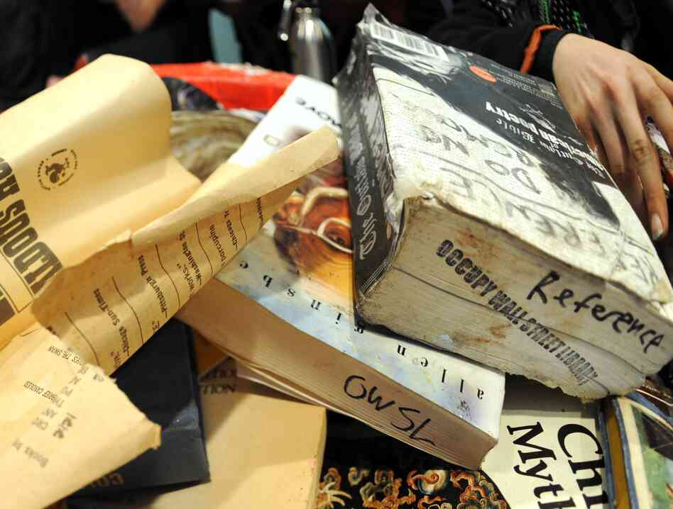 Books from the Occupy Wall Street library damaged in the November 15 eviction of Zuccotti Pa