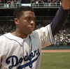 Brooklyn Dodgers first baseman Jackie Robinson (Chadwick Boseman) acknowledges the crowd in 42.