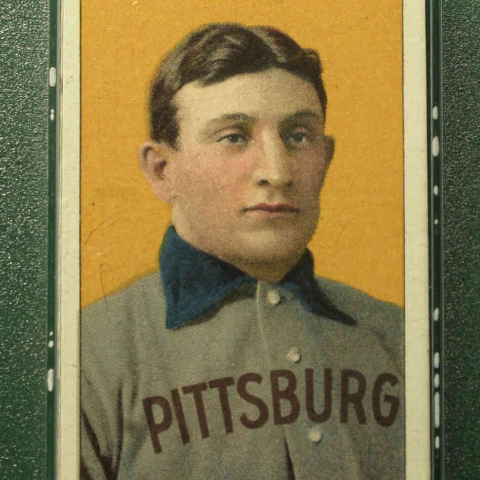 A rare example of the 1909 Honus Wagner baseball card. In 2007, one of t