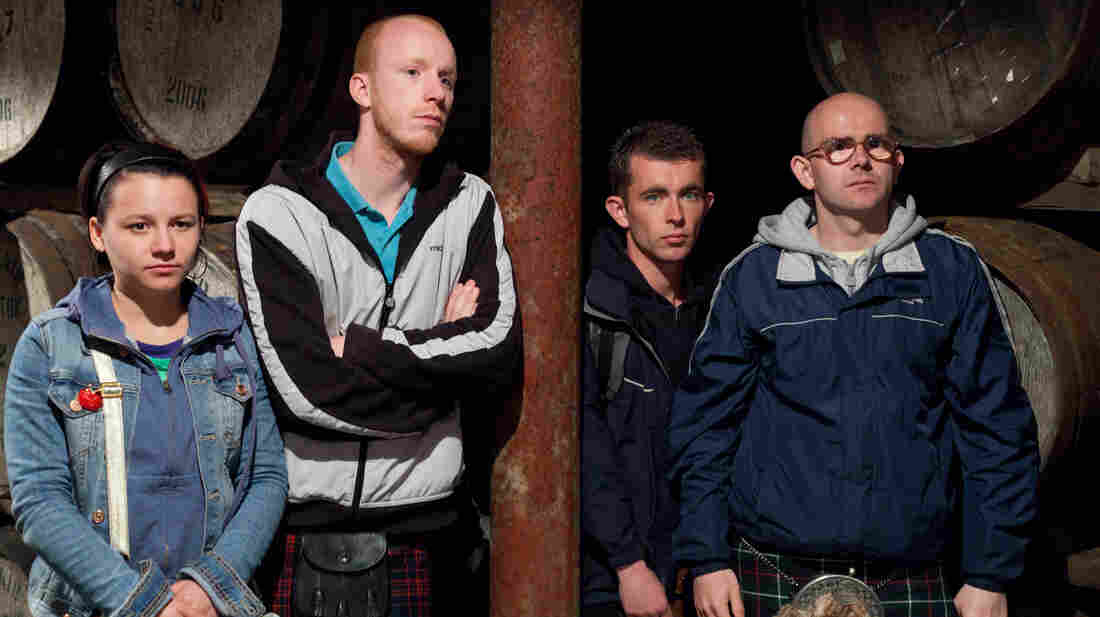 An unsuspected talent gives Robbie (Paul Brannigan, third from left) a chance to pull off a rather unlikely heist. (Also pictured: Jasmin Riggins, William Ruane and Gary Maitland.)