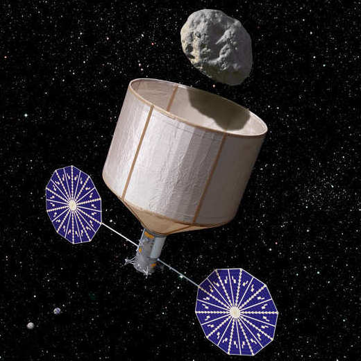 The plan involves launching a vehicle, like the one seen in this artist's rendering, to capture an asteroid and drag it back into orbit around the moon.