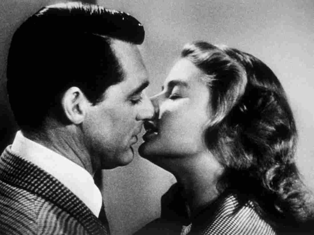 Two prominent chins meet: Cary Grant and Ingrid Bergman kiss in the 1946 thriller Notorious.