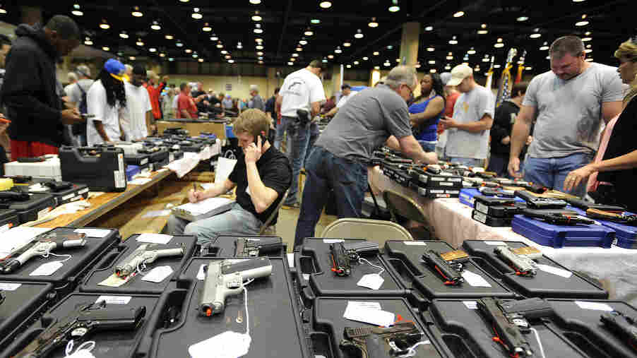 The scene at a gun show in Alabama last month.