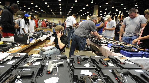 The scene at a gun show in Alabama last month.
