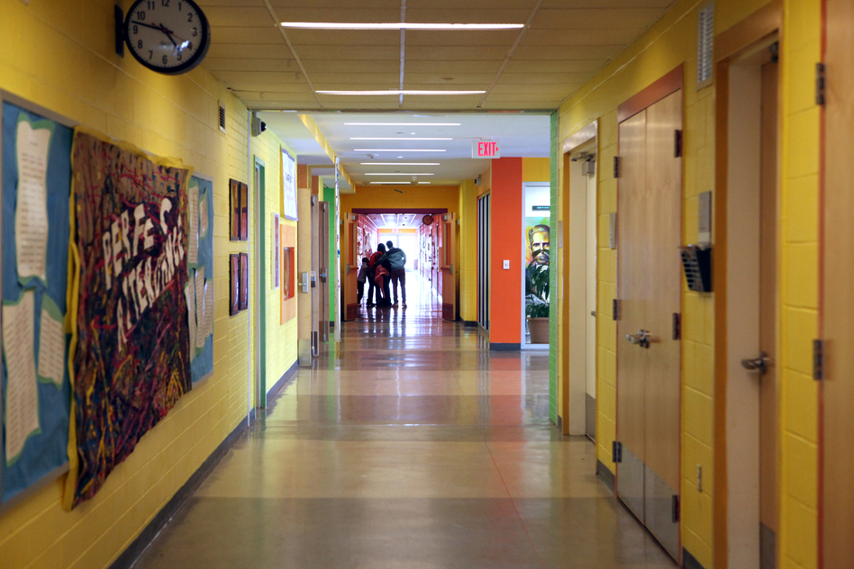 The hallways at Savoy are painted in bold colors. (NPR)