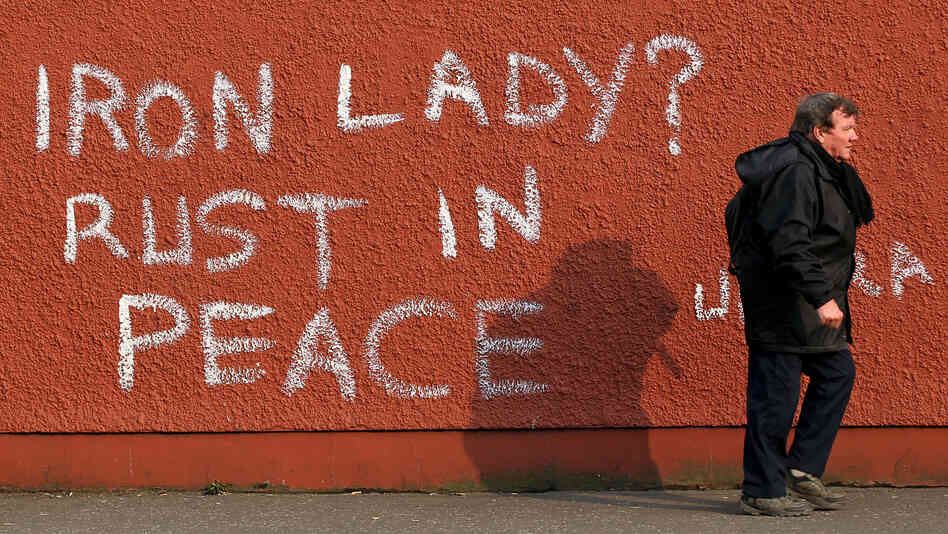 Margaret Thatcher provoked great divisions and her critics have spoken out following her death. These graffiti appeared in Belfast, Northern Ireland, on Tuesday, a day after she died.
