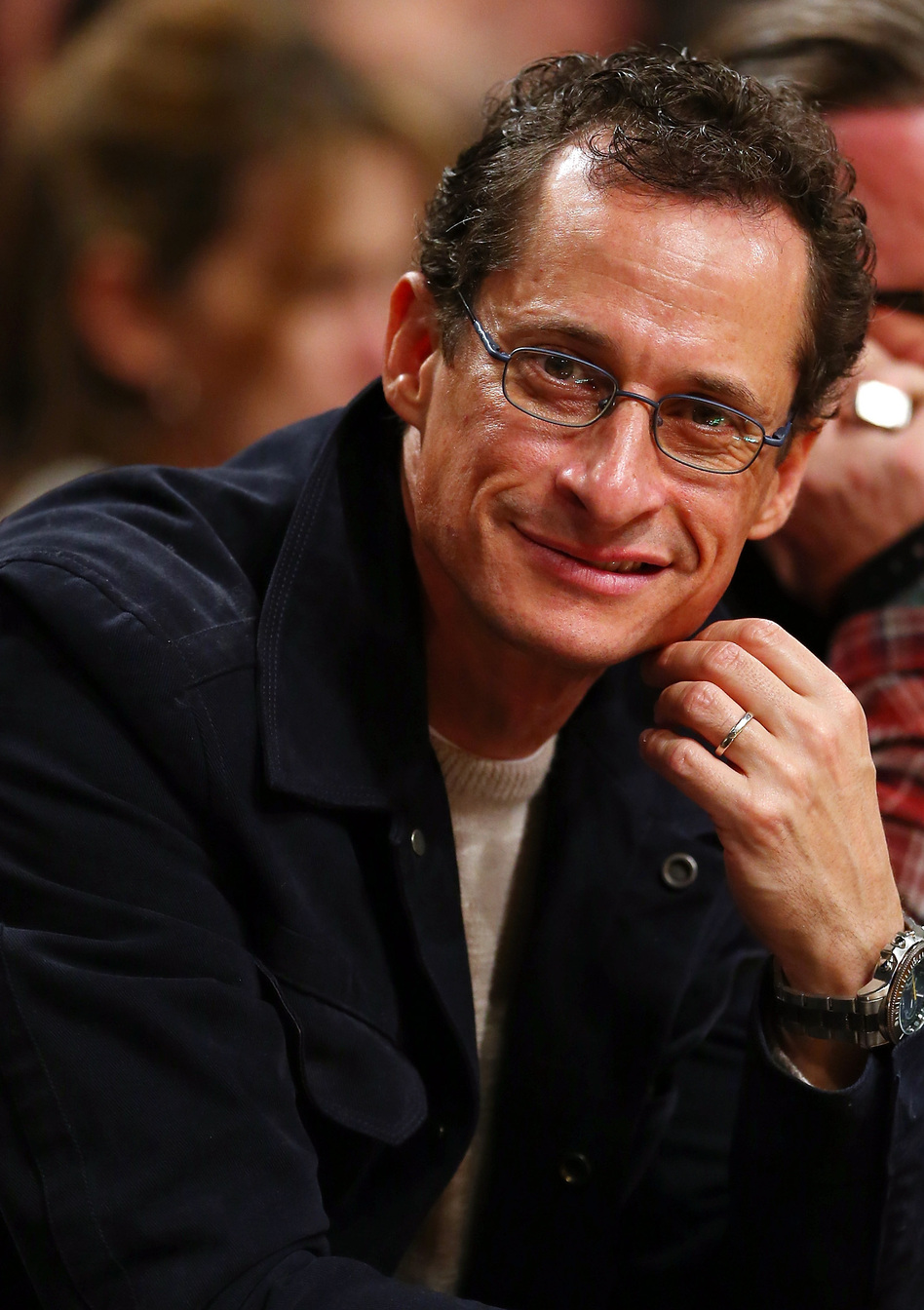 Former Rep. Anthony Weiner, D-N.Y., at a Brooklyn Nets basketball game in November 2012.
