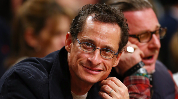 Former Rep. Anthony Weiner, D-N.Y., at a Brooklyn Nets basketball game in November 2012. (Getty Images)