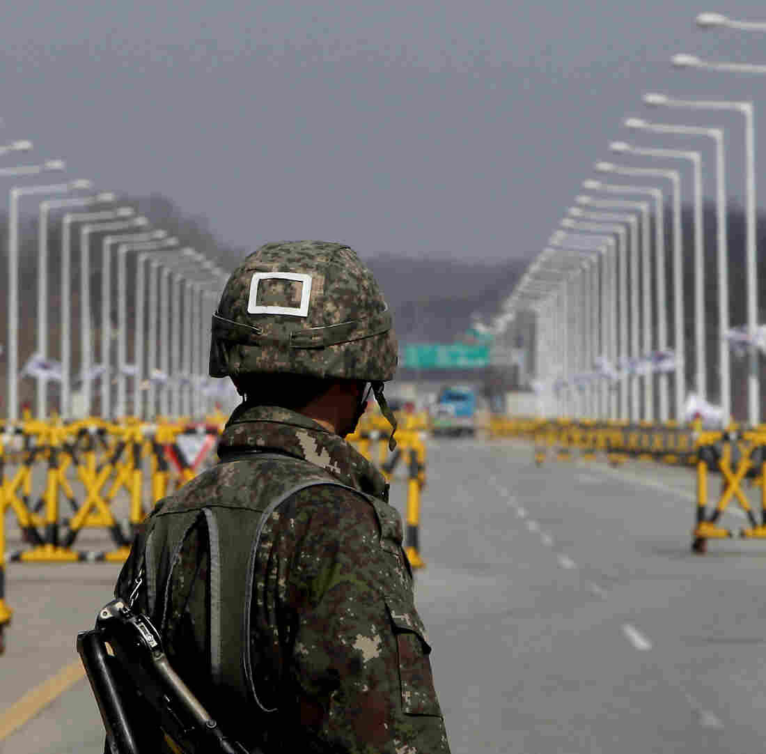 A South Korean soldier stands at a military checkpoint connecting South and North Korea at the Unification Bridge last week in Paju, South Korea.