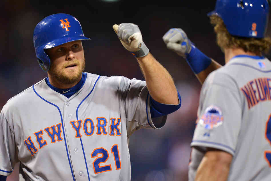 The Mets' Lucas Duda celebrates a homerun against the Phillies with Kirk Nieuwenhuis on Wednesday. Despite the shot, the Phillies won 7-3.