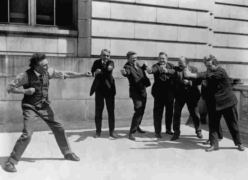 Bernarr Macfadden, who brought the physical culture movement to the U.S., leads six members of the Senate in exercise in 1924.