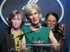 Health and Human Services Secretary Kathleen Sebelius (center), flanked by Centers for Medicare and Medicaid Services Acting Administrator Marilyn Tavenner (left) and Food and Drug Administration Commissioner Margaret Hamburg, speaks during a budget briefing in Washington on Wednesday.