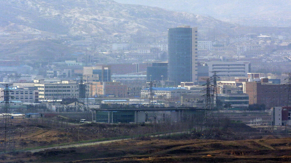 Kaesong industrial complex in North Korea is seen from Dora Observation Post near the border village of Panmunjom, north of Seoul, on Wednesday.