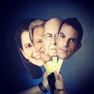 Masks created for NPR's Friday Night Spin party, featuring journalists (l-r) Melissa Block, Ken Rudin, Carl Kasell and Ari Shapiro.