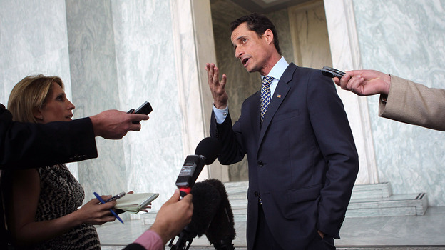 Mayor Weiner? Anthony Weiner, pictured in May 2011 addressing his sexting scandal, says he is considering a run to succeed Michael Bloomberg in New York City. (Getty Images)
