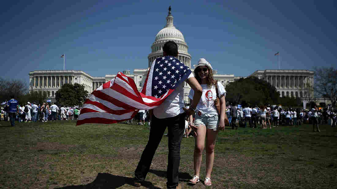 Thousands of immigration activists gather in front of the U.S. Capitol on April 10, 2013, in Washington, D.C.