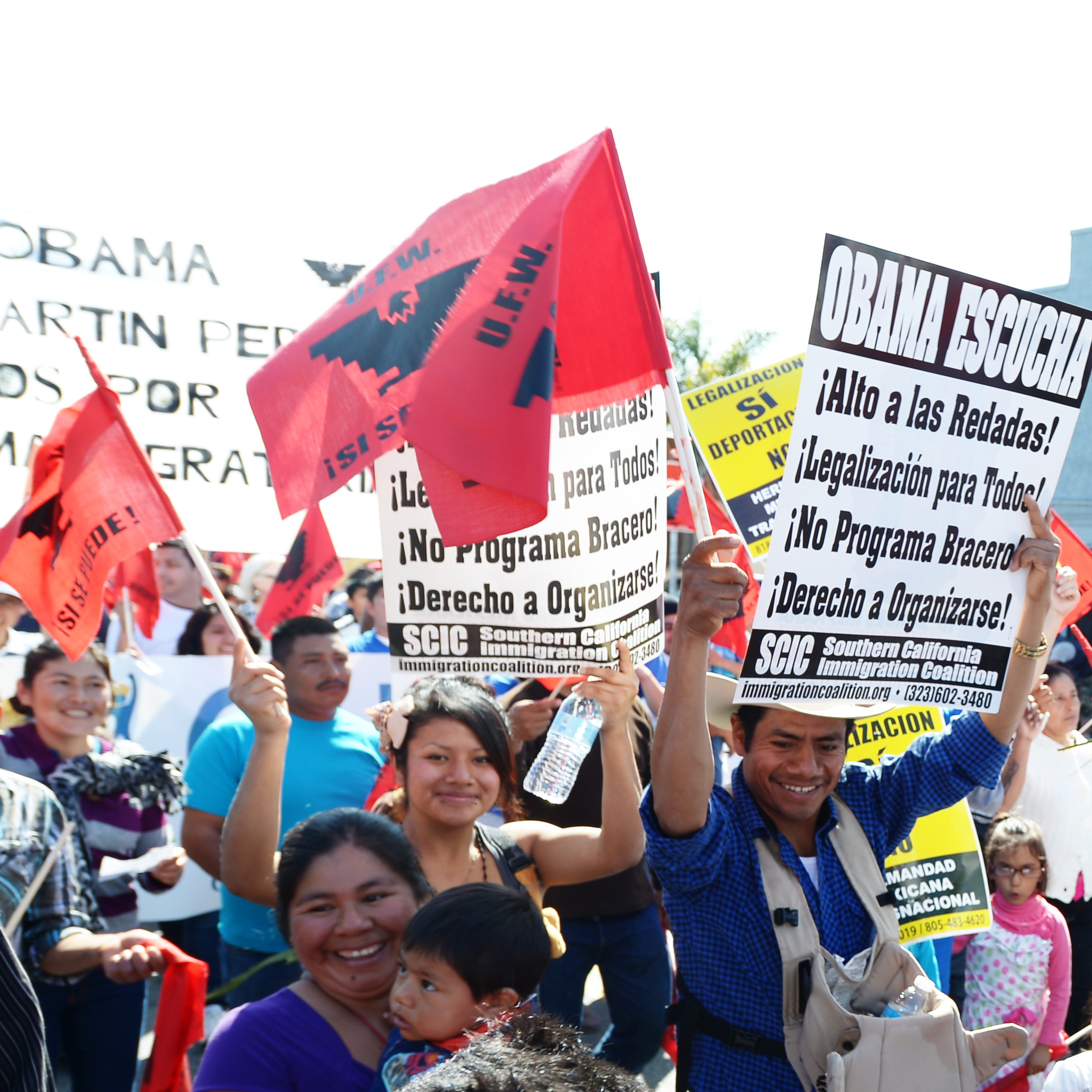 Demonstrators march through the streets of Oxnard, Calif., on March 24, advocating for an immigration overhaul and honoring the legacy of Cesar E. Chavez, founder of the United Farm Workers of America.