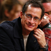 Anthony Weiner attends a basketball game in 2012.