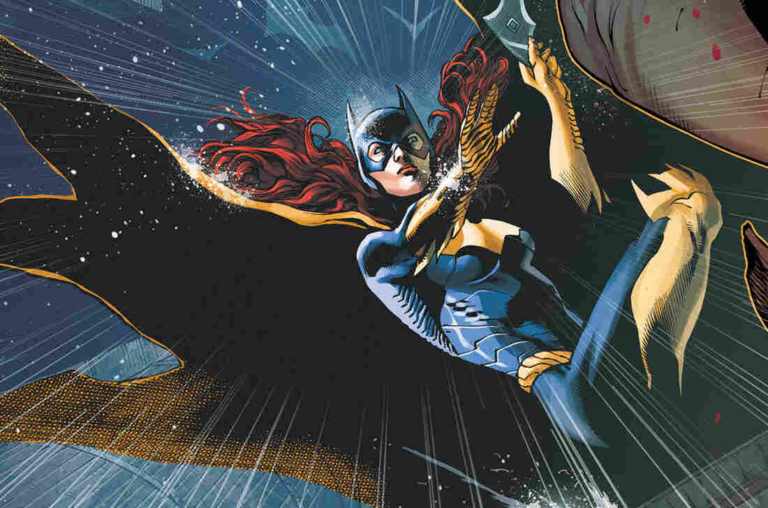 "An image of Batgirl from the cover of ""Batgirl 19,"" in which it is revealed that Batgirl's roommate is transgender."