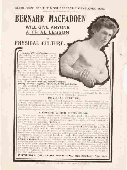 An ad for Bernarr Macfadden's physical culture course appeared in one of his periodicals, Fair Play, in 1902.