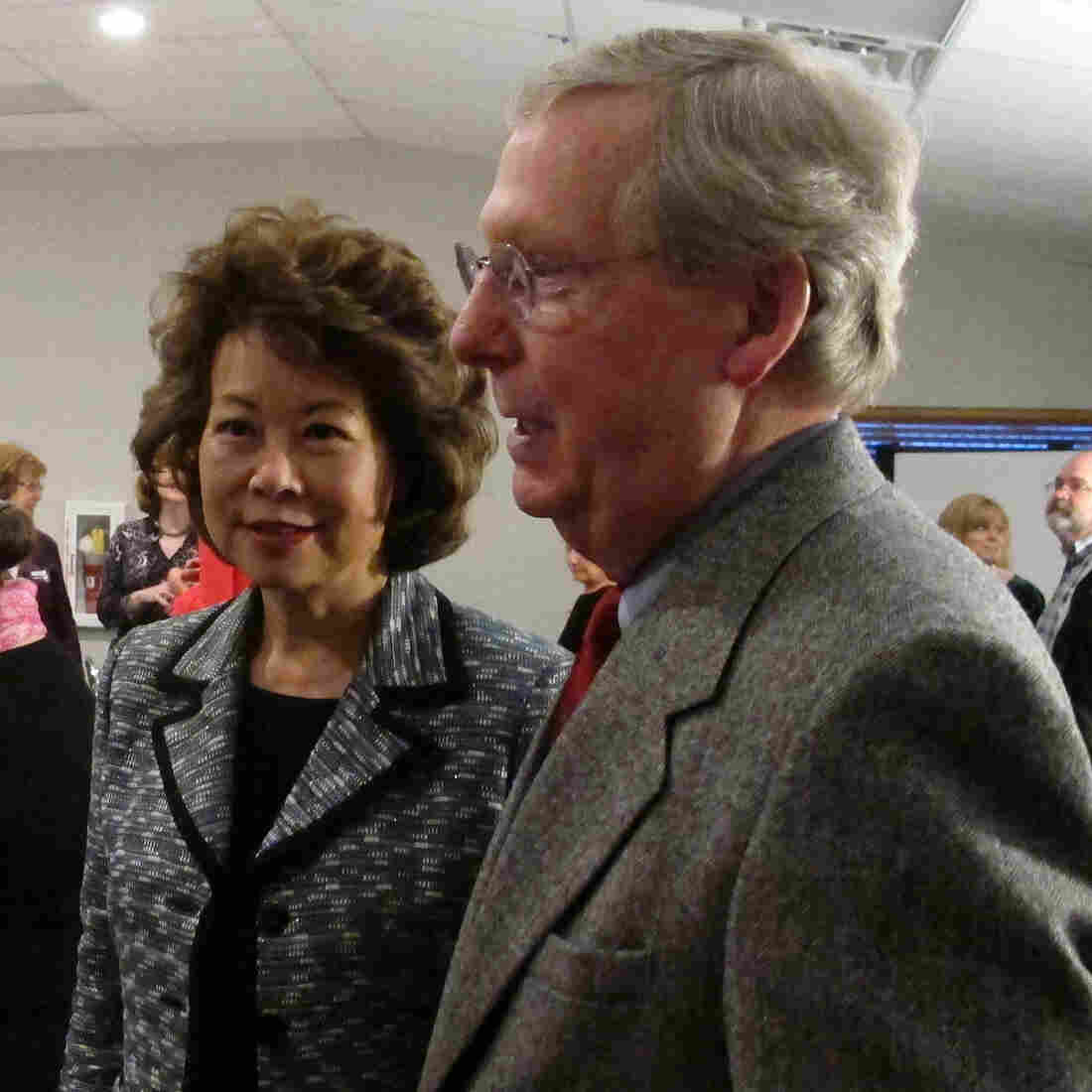 Sen. Mitch McConnell and his wife, former Labor Secretary Elaine Chao, at a Republican dinner in Winchester, Ky., last month.