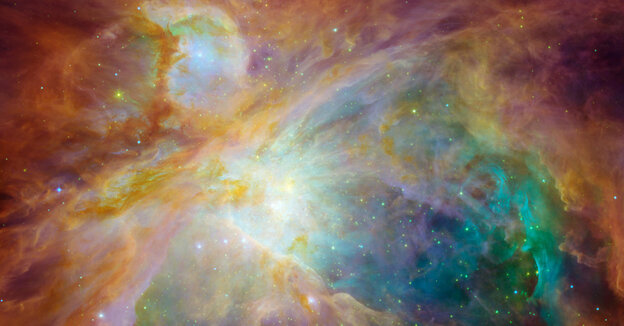 The Orion nebula is the brightest spot in the sword of the Orion, or the Hunter constellation.