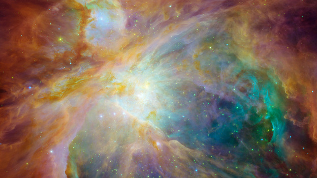 The Orion nebula is the brightest spot in the sword of the Orion, or the Hunter constellation. (NASA)