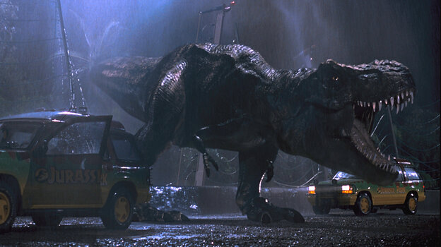 A single trumpet from a baby elephant at the San Francisco Zoo was used for every single T. Rex roar in Jurassic Park.