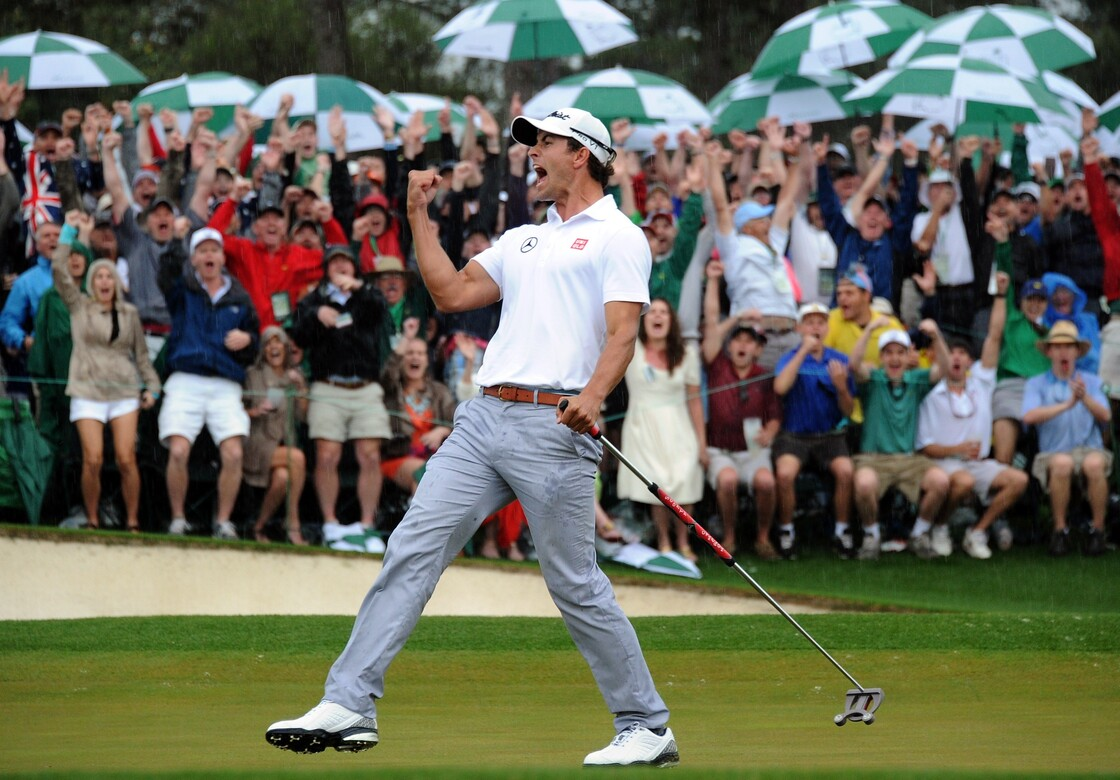 Adam Scott of Australia celebrates hitting a birdie on the 18th hole to force a playoff during the fourth round of the 77th Masters golf tournament in Augusta, Ga., on Sunday.