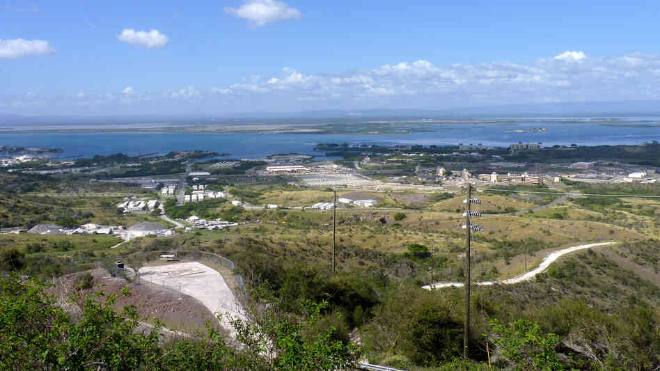 A view of the the U.S. Naval Station base in Guantanamo Bay Cuba. Guards and prisoners  fought Saturday, as inmates were moved into ind