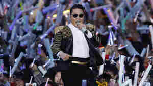 South Korean rapper PSY performs at his concert in Seoul, South Korea on Saturday.