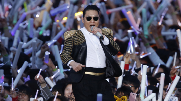 South Korean rapper PSY performs at his concert in Seoul, South Korea on Saturday. (AP)