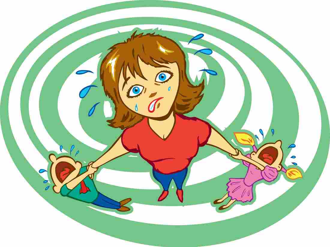 An illustration of a mother with two crying children.