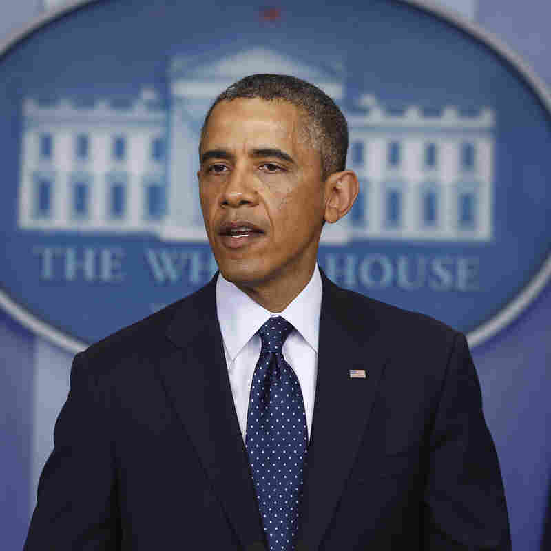 President Barack Obama speaks in the James Brady Press Briefing Room at the White House on Monday following the explosions at the marathon in Boston.